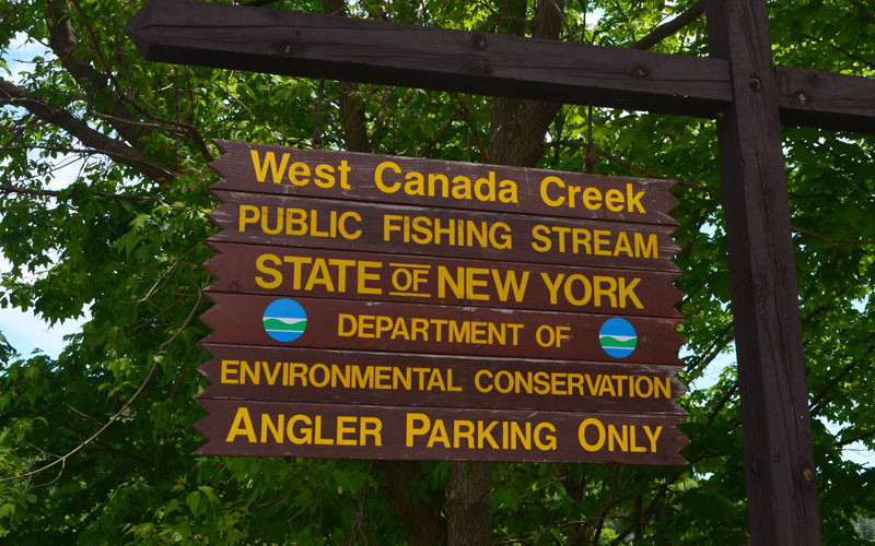 Sign for West Canada Creek public fishing stream.